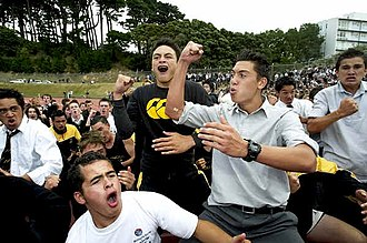 McEvedy Shield - Wellington College students performing the school haka after winning the 2005 McEvedy Shield.
