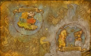 Gameplay of World of Warcraft - World of Warcraft Cosmic Map, showing Azeroth (bottom right corner) and Outland (top left corner).