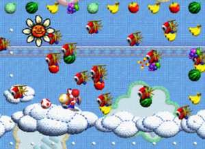 "Yoshi's Story - A swarm of Shy Guys roam across the patchwork denim skies of ""Cloud Cruising""."