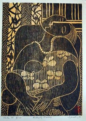 Hiroki Morinoue - 'Butterfly Kimono', woodcut by Hiroki Morinoue, 2006