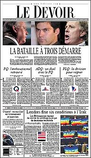 <i>Le Devoir</i> French-language daily newspaper published in Montreal, Canada
