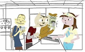 A Kitty Bobo Show - Concept art by Meaghan Dunn, featuring the main characters (see image details for character identification).