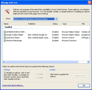 Browser Helper Object - Add-on Manager from Windows XP SP2 Internet Explorer