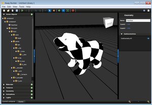 The Away Builder interface with a sample polar bear 3D model (center), and object hierarchy (left).