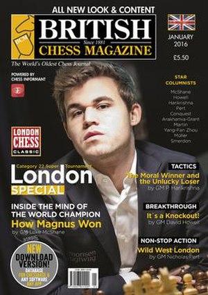 British Chess Magazine - Cover page of the British Chess Magazine January 2016 issue