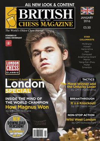 British Chess Magazine - Cover page of the British Chess Magazine January 2016 issue