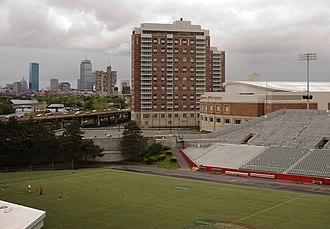 John Hancock Student Village - The rear of the John Hancock Student Village, with Nickerson Field in the foreground and Boston in the background, before the construction of StuVii.