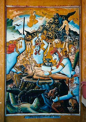 Naraka (Buddhism) - A mural from a temple in northern Thailand. Human-animal figures are dismembered and disemboweled by hell guards and birds, while Phra Malaya watches from above.