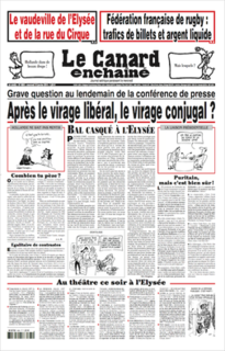satirical newspaper published weekly in France