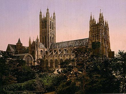 View from the north west circa 1890-1900. Canterbury-Cathedral-Church-of-England-1890-1900.jpg