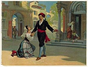 Illustration from Cavalleria rusticana of Santuzza pleading with Turiddu