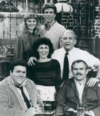 Cheers - Cast of seasons one through three: left to right: (top) Shelley Long, Ted Danson; (middle) Rhea Perlman, Nicholas Colasanto; (bottom) George Wendt, John Ratzenberger