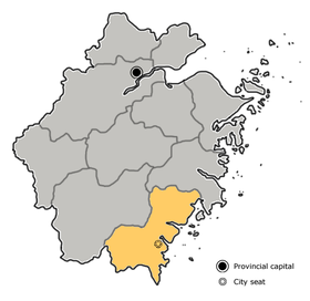 Wenzhou is highlighted in red