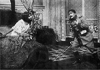 Arms and the Man - The scene in The Chocolate Soldier in which Bumerli (the equivalent of Bluntschli) enters the bedroom of Nadina (the equivalent of Raina), in a 1910 London production