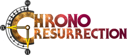 "A logo that reads ""Chrono Resurrection"", with the C resembling a clock."