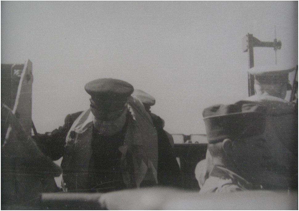 Churchill on HMS Kelvin June 1944