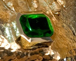 Atocha Star Emerald - Close view of the Atocha Star emerald