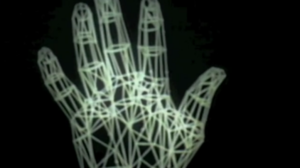 A Computer Animated Hand - In this sequence in the film, the viewer sees a digitized human hand composed of lines.