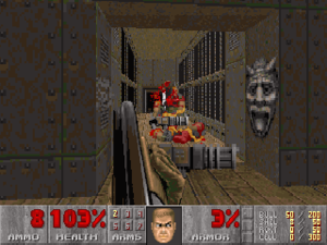 Doom II - The double-barreled shotgun in use