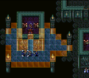 Fire Emblem: Thracia 776 - A mission within Fire Emblem: Thracia 776: displayed is a player unit's range of movement during their turn.