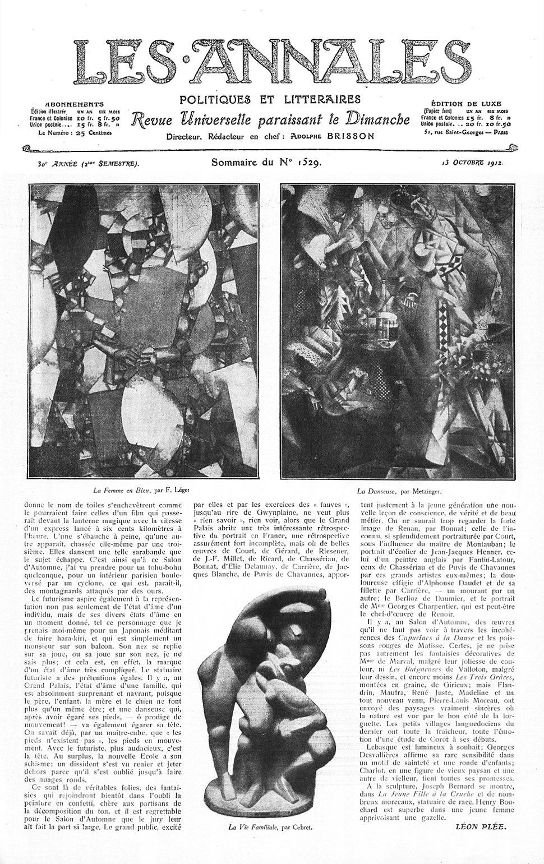 Fernand Léger, Jean Metzinger, Alexander Archipenko, Les Annales politiques et littéraires, n. 1529, 13 October 1912