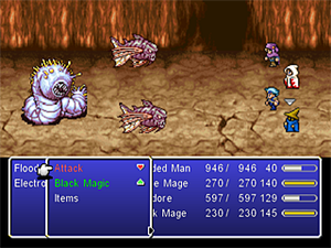 "Final Fantasy IV: The After Years - A battle from the WiiWare version of the game, showcasing the ""Age of the Moon"" system with four party members. The text colors of the abilities shown in the lower part of the screenshot indicate their effectiveness: white abilities remain unchanged, red abilities are weaker and green abilities are stronger than normal."