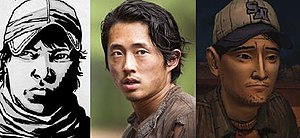 Glenn Rhee - From left to right, Glenn Rhee as depicted in the comic book series, television series and game series.