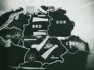 Inner German border - The East German view: the border depicted as a defensive line against military aggression from NATO.