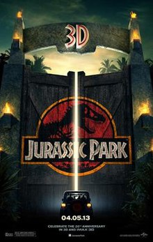 "A car approaches a gate adorned with the Jurassic Park logo. Atop the gate is a text reading ""3D"", and at the bottom of the poster, the release date ""04.05.13""."