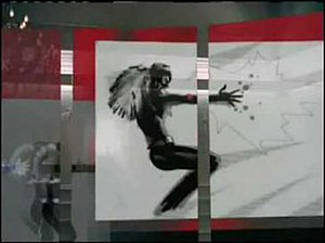 Keeps Gettin' Better - Aguilera as seen in the music video, portraying a Catwoman-like heroine, in a comic book style, presented on a touch screen.