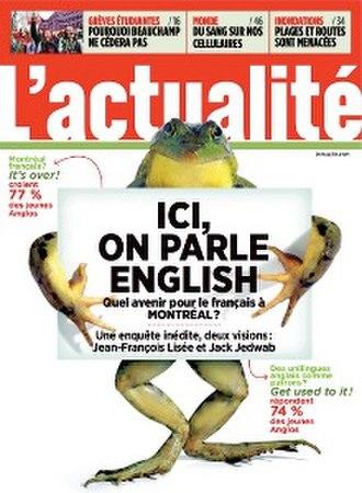 L'actualité - Image: L'actualité (magazine) cover