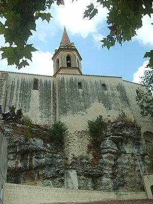La Cadière-d'Azur - The back of St-Andre Church built onto the cliff face
