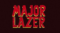 "The words ""Major Lazer"" set in red type with yellow block lettering, all on a dark red background"