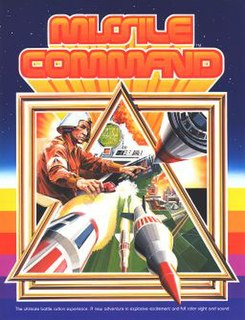 <i>Missile Command</i> Atari tower defense arcade video game first released in 1980