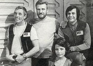 Moonbase 3 - The Cast of Moonbase 3: Barry Lowe, Donald Houston, Ralph Bates and Fiona Gaunt