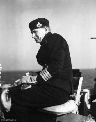 Otto Becher - Captain Otto Becher on the bridge of HMAS Warramunga c. 1951