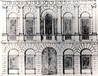 Richard Boyle, 3rd Earl of Burlington - Palazzo facade drawn by Andrea Palladio, purchased in Italy by Inigo Jones. Burlington purchased it from the heirs of Jones' pupil John Webb and adapted it for the London House of General Wade. Note the Palladian window.