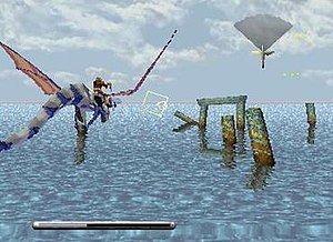 Panzer Dragoon (video game) - The dragon and its rider flying through level 1. The yellow aiming reticle appears in the center and the radar in the top right corner.