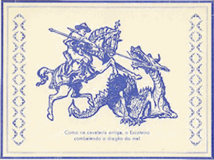 Scouts' Day - Portuguese Scout postcard casting Scout as modern-day St. George slaying the dragon