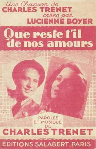 Que reste-t-il de nos amours ? - French publication's cover containing the musical score and lyrics edited in 1942.