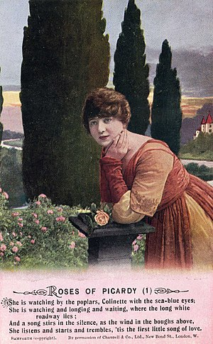 Roses of Picardy - Postcard with the words from verse 1. c. 1916