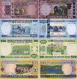 Current banknotes of the Rwandan franc