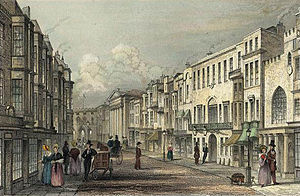 All Saints' Church, Southampton - This drawing of Southampton High Street in 1839 by GF Sargent shows the pillared façade of the church in relation to the Bargate in the background.