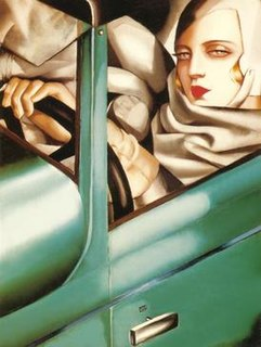 <i>Autoportrait (Tamara in a Green Bugatti)</i> painting by Tamara de Lempicka