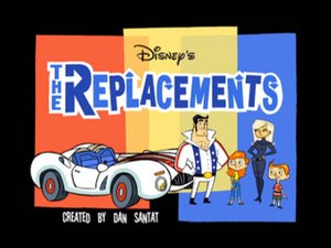 The Replacements (TV series) - Title card of The Replacements with the main characters (Left to Right) C.A.R.T.E.R., Richard, Riley, Karen and Todd