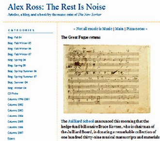 Classical music blog - Screenshot of The Rest is Noise, a classical music blog by Alex Ross.