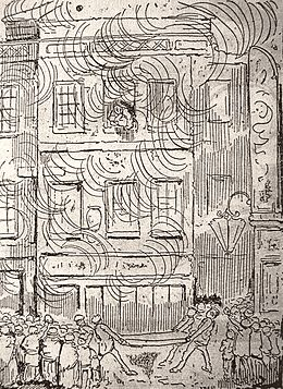 A three-storey building engulfed in flame, surrounded by a crowd. Four men on the pavement hold a mattress in front of the building. A woman leans through the window on the top floor holding a small child in her arms.