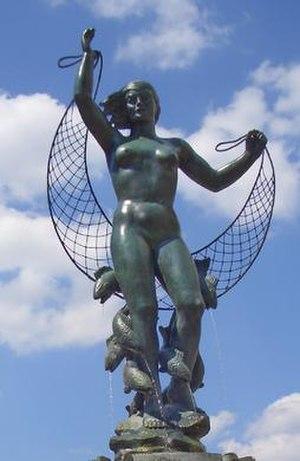 Wheeler Williams - Muse of the Missouri, 1960, detail of fountain sculpture in Kansas City, Missouri.