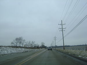 Illinois Route 120 - Westbound IL 120 after narrowing down to two lanes, just west of the McHenry area.