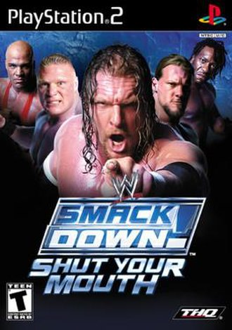 WWE SmackDown! Shut Your Mouth - NTSC cover art featuring Kurt Angle, Brock Lesnar, Triple H, Chris Jericho and Booker T
